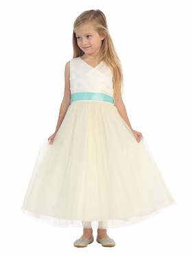 Satin Gathered Top Dress with Tulle Skirt