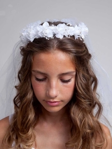Sweet Floral First Communion Wreath With Veil